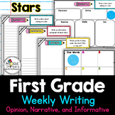 First Grade Weekly Writing Stars (opinion, narrative, info