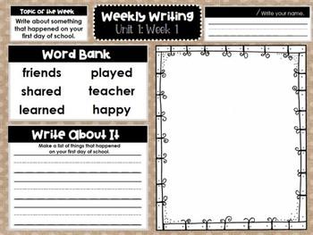 First Grade Weekly Writing (Unit 1, Week 1)
