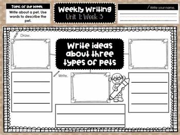 First Grade Weekly Writing (Unit 1, Week 3)