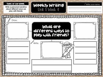 First Grade Weekly Writing (Unit 1, Week 4)