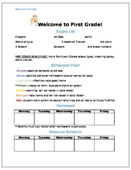 First Grade Welcome Letter
