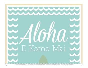 First Grade Welcome Poster Hawaii: Aloha E Komo Mai