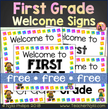 First Grade Welcome Signs - Free