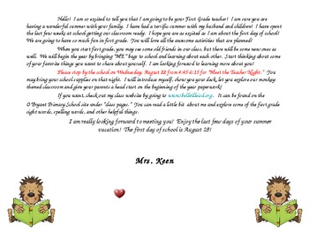 """First Grade """"Welcome to my class"""" letter to send home over the summer!"""