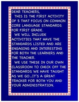 First Grade Winter CCSS Activity 1 Language Assessment