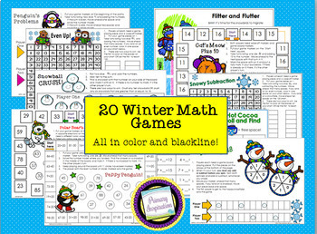 First Grade Winter Math One Page Games