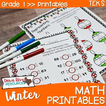 First Grade Winter Math No Prep Printables {TEKS/CCSS}