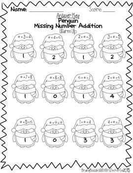 First Grade Winter Math Warm Ups