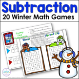 First Grade Winter Subtraction One Page Games