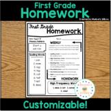First Grade Wonders Editable Homework