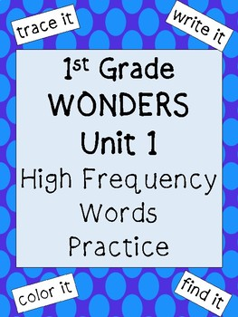 First Grade Unit 1: High Frequency Words Practice
