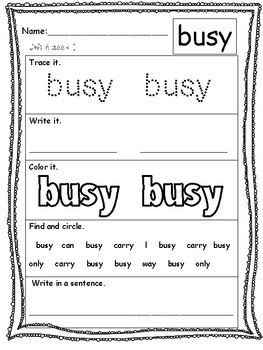 First Grade Wonders Unit 6: High Frequency Words Practice