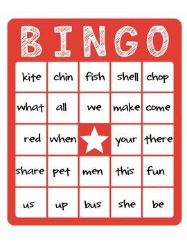 First Grade Word Bingo