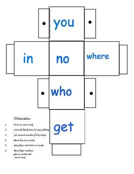 First Grade Word Cubes