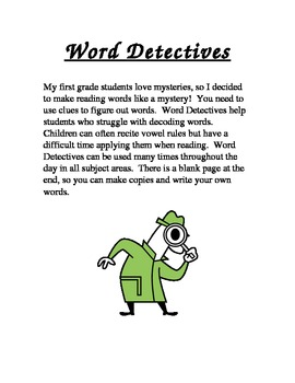 First Grade Word Detective
