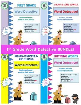 Sight Words, Vowels, Blends, Rhyming Words - First Grade Word Detective BUNDLE