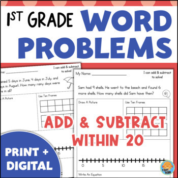 First Grade Word Problems - Add and Subtract Within 20