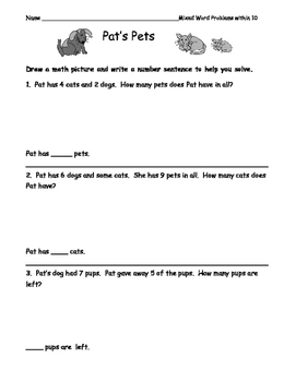 First Grade Word Problems: Addition, Subtraction, Comparison, Missing Addend