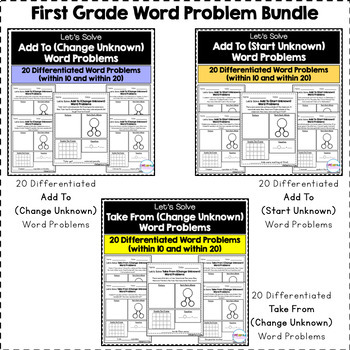 First Grade Word Problems Bundle - 180 Differentiated Word Problems