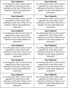 First Grade Word Problems: Pizza Math