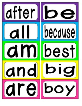 First Grade Word Wall Words