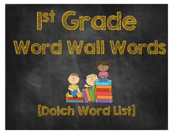 First Grade Word Wall Words [Chalkboard Style]