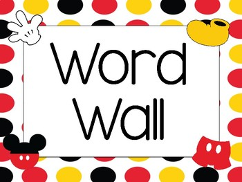 First Grade Word Wall Words Disney Themed