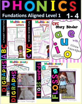 Fun Phonics Level 1 Units 1-4 Decodable Stories and Activity Packs