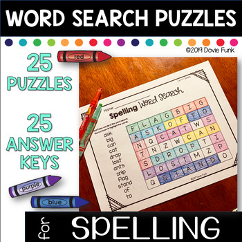 First Grade Word Work Weekly Worksheets - 25 Word Searches and Answer Keys
