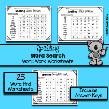 First Grade Word Work Weekly Worksheets - 25 Word Searches - Saxon Spelling 1