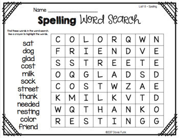 Word Searches for First Grade - Saxon Spelling 1 - Great for Beginners!