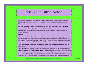 First Grade Dolch Wordo game