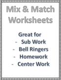 First Grade Worksheet Bonanza- Sub Work, Center Work, Morn