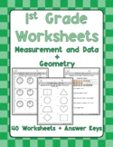 First Grade Worksheets - Measurement and Data + Geometry - Distance Learning
