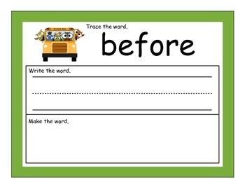 First Grade Write and Build Words with Magnetic Letters School Theme