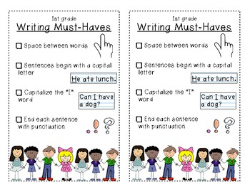 First Grade Writing Bookmarks