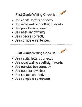 First Grade Writing Checklist