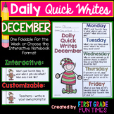 Christmas Writing Prompts for December Christmas Activities