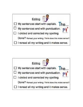 Writing - Editing Checklists