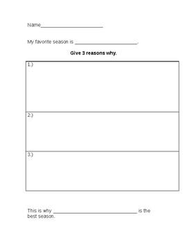 First Grade Writing Graphic Organizer