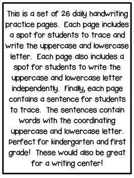 First Grade Writing: Handwriting
