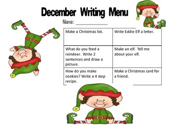 First Grade Writing Menus for August-December