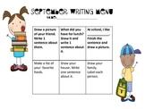 First Grade Writing Menus for August-December