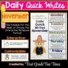 Writing Prompts Fall Activities - November Quick Writes