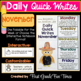 November Quick Writes Thanksgiving Activities
