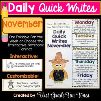 November Quick Writes Thanksgiving Activities