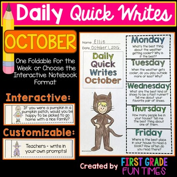 Writing Prompts Fall Activities October Quick Writes