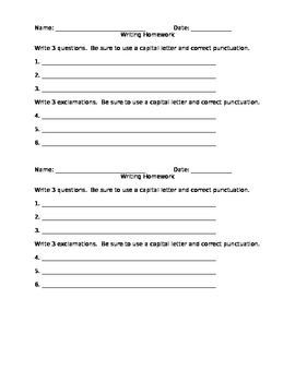 First Grade Writing Questions and Exclamations Worksheet