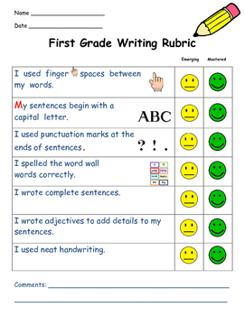 First Grade Writing Rubric