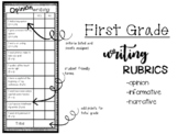 First Grade Writing Rubrics- Informative, Opinion, and Narrative
